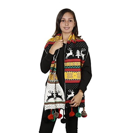Womens Christmas Tree Reindeer Snowflake Reversible Knit Wraparound Scarf Shawl (Black Pom Poms)](Ugly Christmas Scarf)