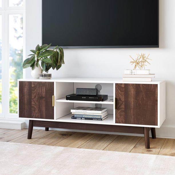 Nathan James Wesley Scandinavian TV Stand Media Console with White Frame and Walnut Cabinet Doors