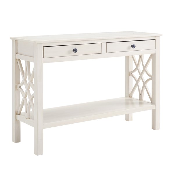 2 Drawer Wooden Console Table With Geometric Side Panels Antique White Com - Antique White Console Table With Storage
