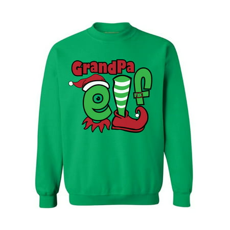 Awkward Styles Grandpa Elf Sweashirt Christmas Elf Sweater Ugly Christmas Sweater Men Matching Family Christmas Pajamas Elf Suit for Granddad Funny Christmas Gifts Tacky Christmas Ugly Sweater