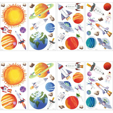 RoomMates Outer Space Peel and Stick Wall Decals, 2 pack - Outer Space Classroom Decorations