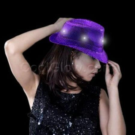 LED Sequin Fedora - Purple - Sequin Fedora