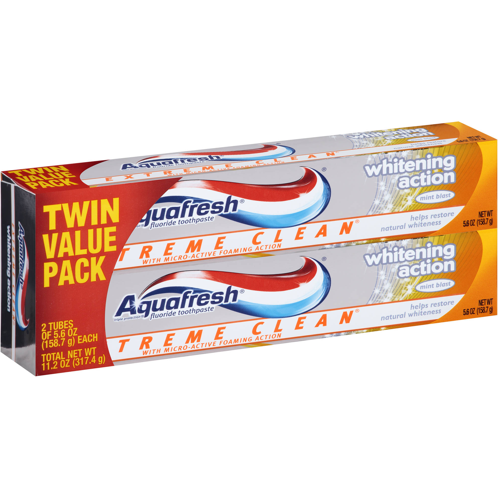 Aquafresh Extreme Clean Whitening Action Twin Pack Toothpaste, 5.6 oz
