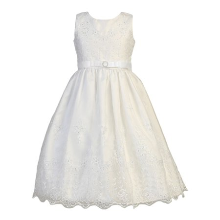 Girls White Embroidered Organza Satin Holly Communion Dress](Holly Golightly Dress)