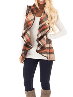Long Sleeve Sweater Cardigans for Women, Lapel Open Front Vest Flyaway Cardigans for Juniors, Women's Red / Black Gift Plaid Draped Outwear Jacket Coat for Ladies, S-2XL