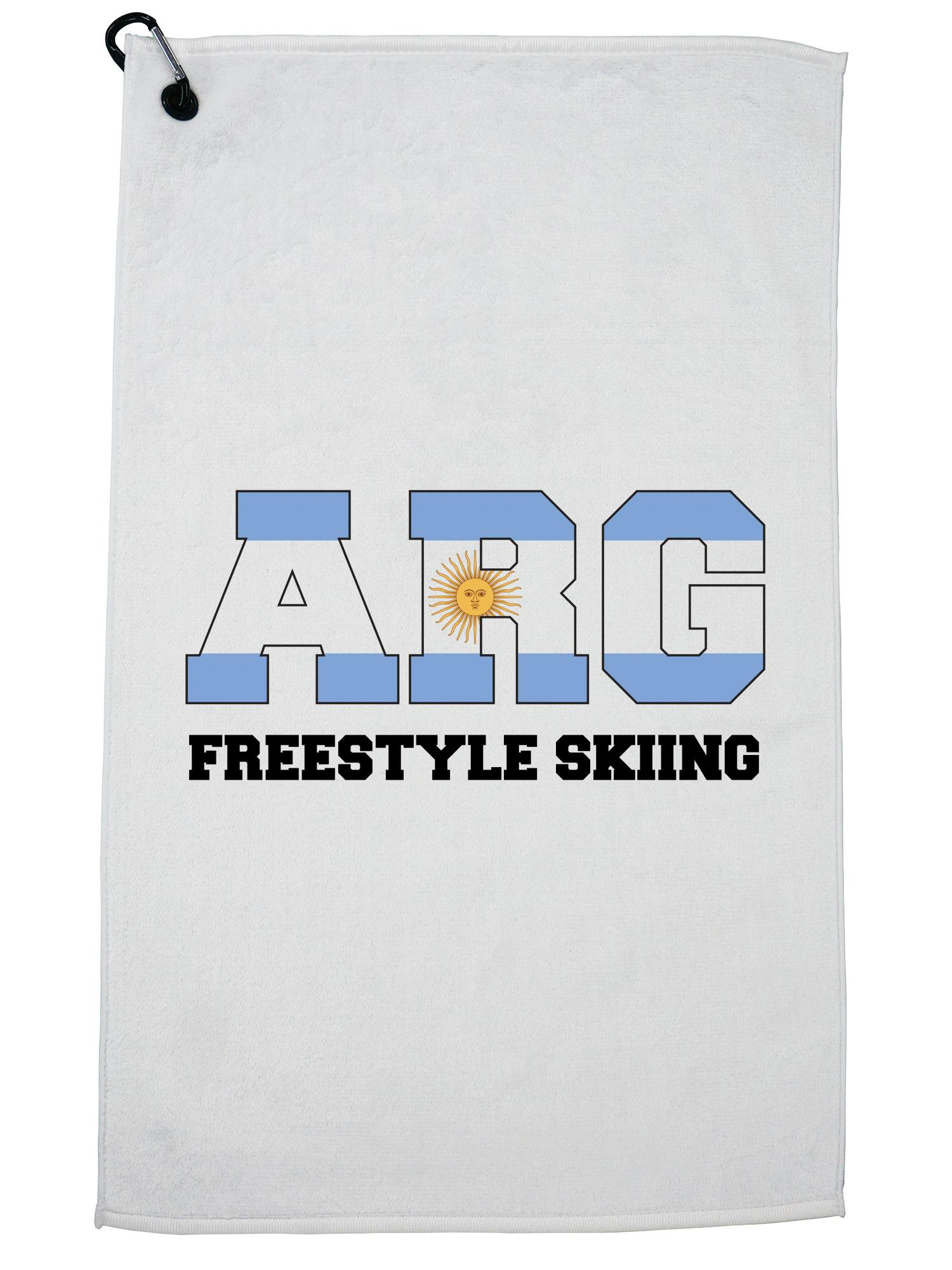 Argentinian Freestyle Skiing Winter Olympic ARG Flag Golf Towel with Carabiner Clip by Hollywood Thread