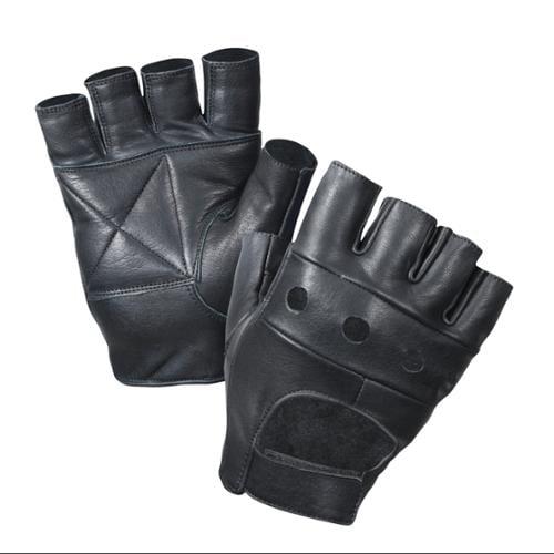 Black Leather Fingerless Biker Gloves, Large
