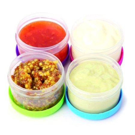 Home & Style Twist Top Salad Dressing Cups Kitchen Storage Container Pack of 4 Reusable Dipping (Best Store Bought Coleslaw Dressing)