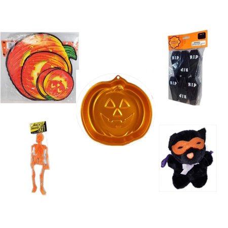 Halloween Fun Gift Bundle [5 Piece] - Classic Pumpkin Cutouts Set of 9 - Tombstone Containers Party Favors 6 Count - Wilton Iridescents Jack-O-Lantern Pan - Hanging Skeleton Orange - Manley Toys  Co
