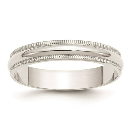 - 10k White Gold 4mm Lightweight Milgrain Half Round Wedding Band Ring Size 12
