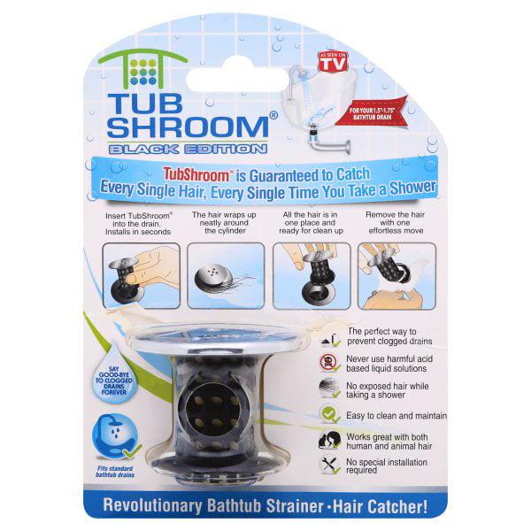 Tubshroom Chrome Edition Revolutionary Tub Drain Protector Hair Catcher Strainer Snare Black Walmart Com Walmart Com