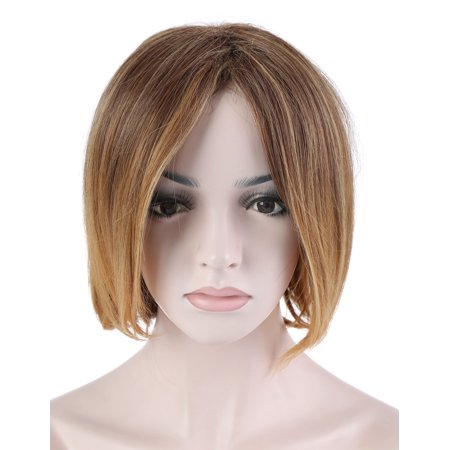 OneDor 13 Inches Short Straight Honey Blonde Bob Synthetic Hair Full Wig with Wig - Cheap Short Blonde Wigs