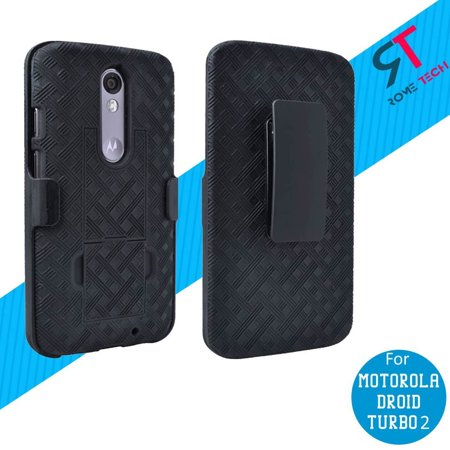 Rome Tech New Shell Holster Combo Case in Black For Motorola Droid Turbo 2