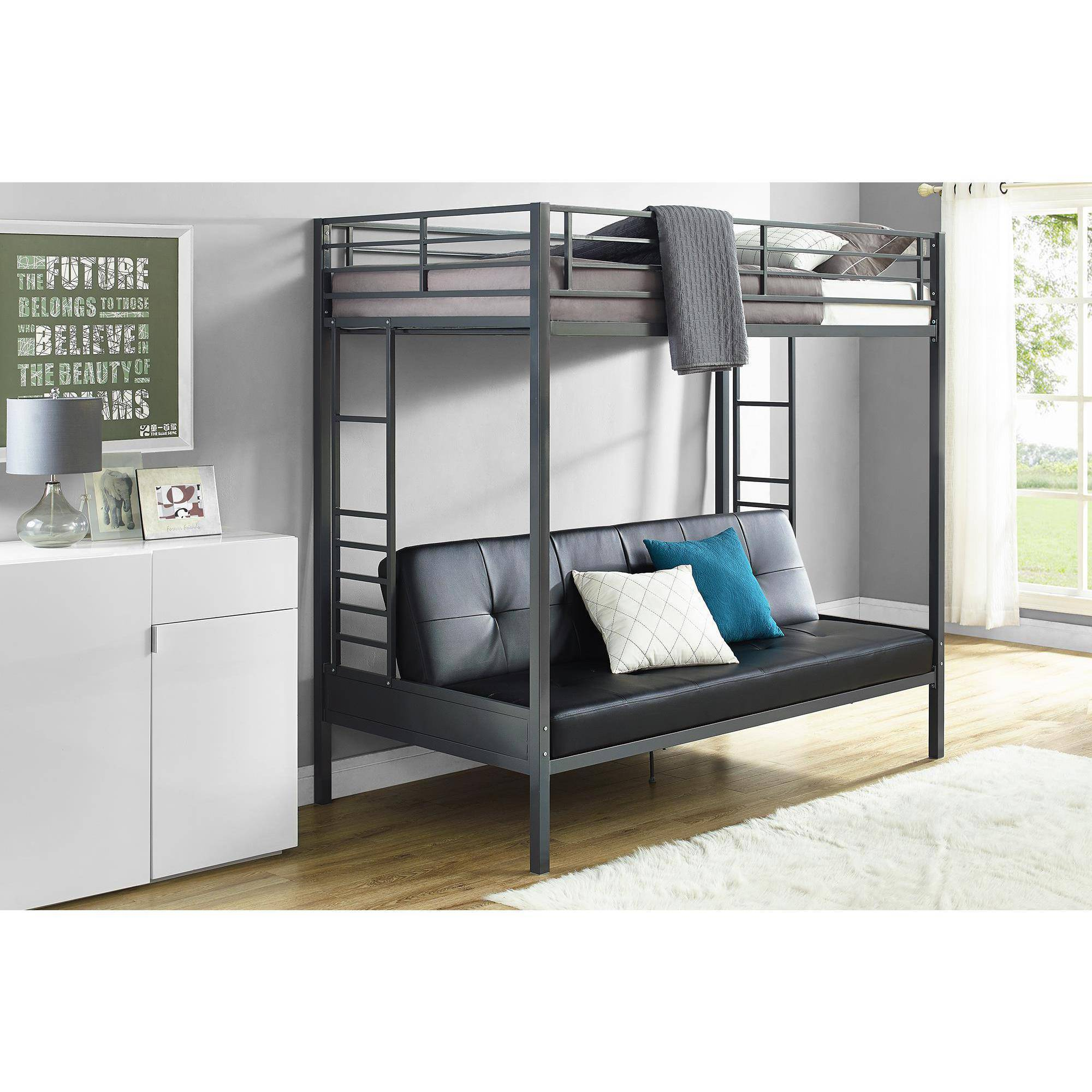 DHP Jasper Premium Twin Over Futon Bunk Bed with Black Faux Leather Futon Mattress, Gunmetal by Dorel Home Products