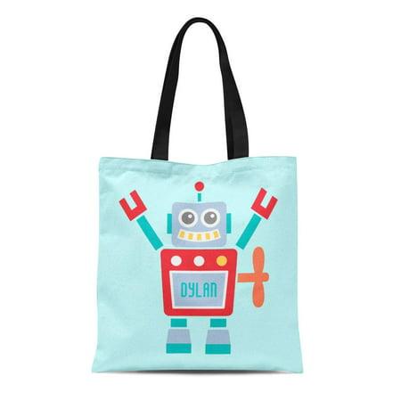 JSDART Canvas Tote Bag Science Vintage Cute Robot Toy Room Fiction Colourful Sci Reusable Handbag Shoulder Grocery Shopping Bags - image 1 de 1