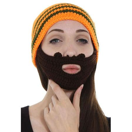 Snowboard Beanie Hat New Skateboard - Mens Womens Outdoor Ski/Snowboarding Knit Beard Hat Beanie, Orange