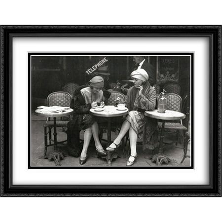 Cafe et Cigarette, Paris, 1925 2x Matted 36x28 Large Black Ornate Framed Art Print by Roger Viollet