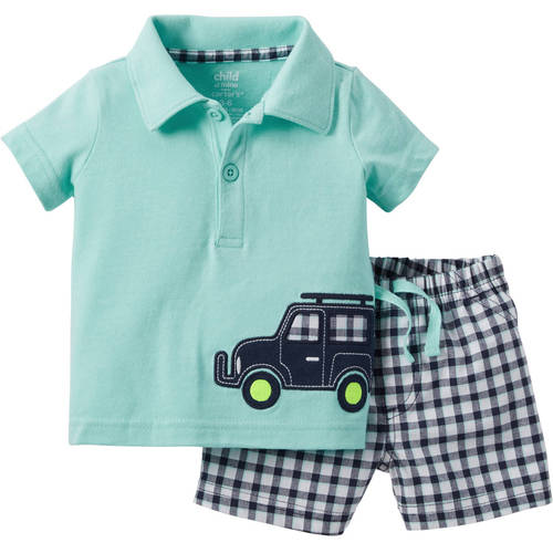 Child of Mine by Carter's Newborn Baby Boy Collared Shirt and Short Outfit Set, 2 Pieces