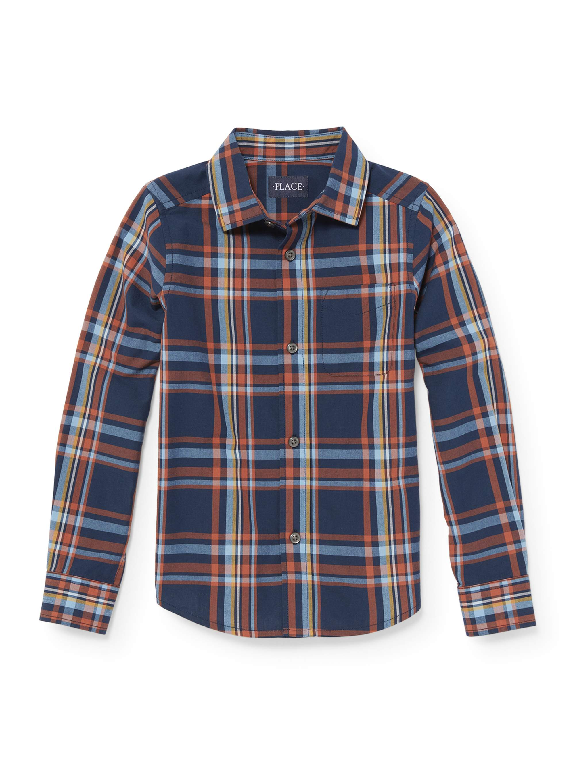 Long Sleeve Button Up Navy Twill Plaid Shirt (Little Boys & Big Boys)