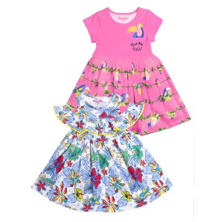 Toucan and Tropical Jersey Dress, 2-Pack (Little (Dress Tropical Duster)