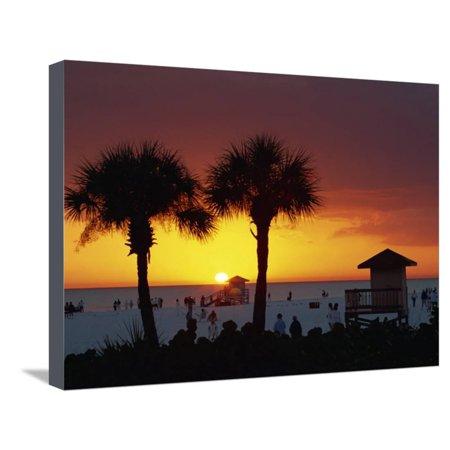 Sunset from Siesta Beach, Siesta Key, Sarasota, Florida, United States of America, North America Stretched Canvas Print Wall Art By Tomlinson