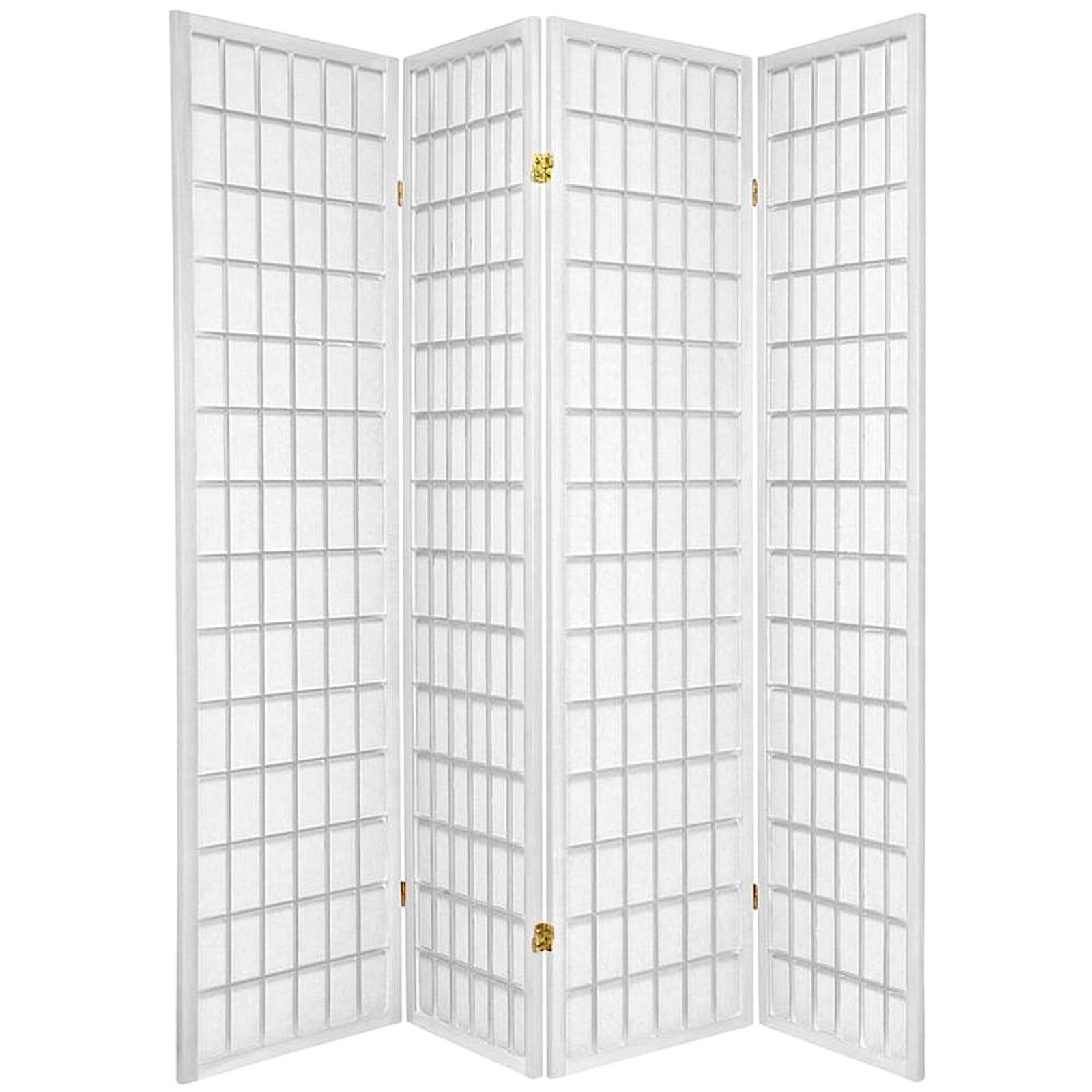 Legacy Decor 4 Panel Japanese Oriental Style Room Screen Divider White Color