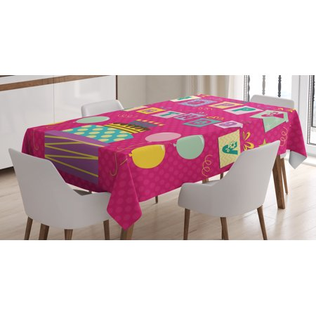 Birthday Decorations For Kids Tablecloth Light Pink Polka Dots Backdrop Happy Birthday Boxes Image Rectangular Table Cover For Dining Room Kitchen