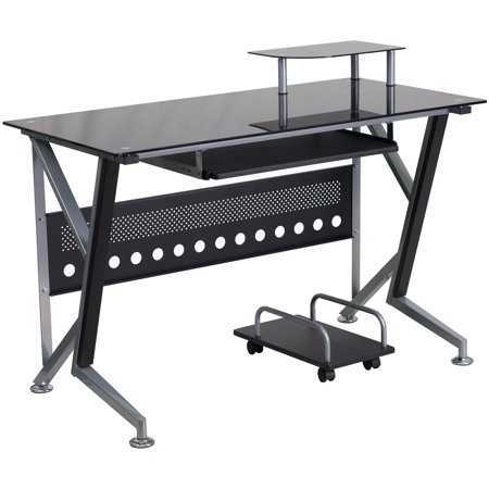 Flash Furniture Black Glass Computer Desk with Pull-Out Keyboard Tray and CPU