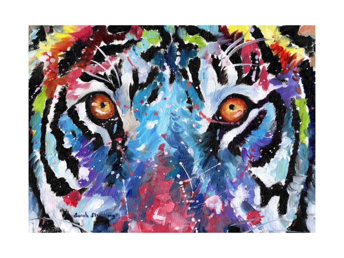 Tiger eyes laminated print wall art by sarah stribbling