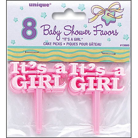 It's A Girl Baby Shower Cupcake Toppers, 2.5 in, Pink, 8ct