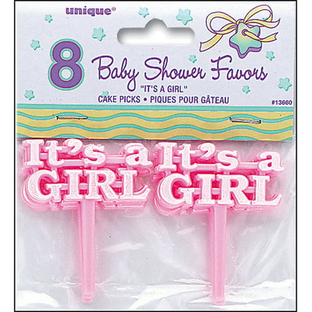 It's A Girl Baby Shower Cupcake Toppers, 2.5 in, Pink, 8ct (Transformers Cupcake Toppers)
