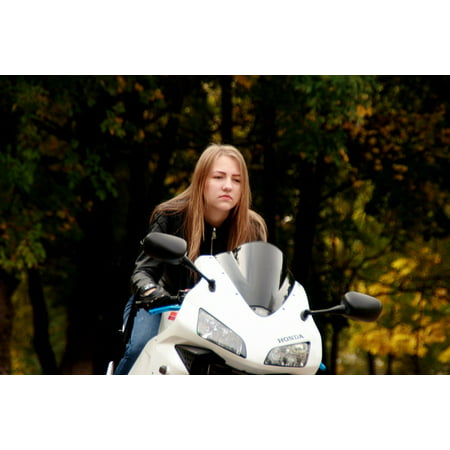 LAMINATED POSTER Motorcycle Biker Girl Leather Jacket Ride Blonde Poster Print 24 x 36 - Motorcycle Girls Leather