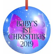 New Baby - Baby's First Christmas 2019 Ornament - Baby Girl Bow Round Shaped Flat Semigloss Aluminum Christmas Ornament Tree Decoration