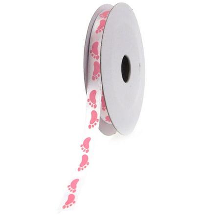 Baby Girl Foot Print Satin Ribbon, 3/8-inch, 10-yard, Pink - Girls Ribbon