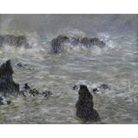 Belle-Isle Shore Storm (Cotes de Belle-Ile Tempete) c 1886 Claude Monet (1840-1926French) Musee d Orsay Paris Canvas Art - Claude Monet (18 x (Best Time To Visit Musee D Orsay)