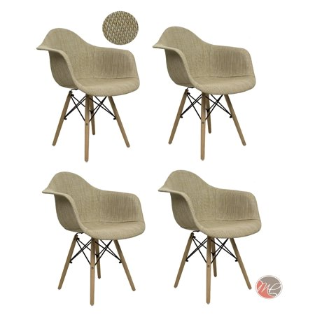 Madison Four (Madison Park SET OF 4 Modern Contemporary Eames HAVERFORD Leisure Chair Rattan Cream Beige Seating Accent for Dining, Den, Bedroom or)