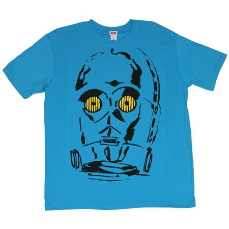 Star Wars Mens T-Shirt  - C-3PO Impressionist Golden Eyes on Blue - Star Wars Eye Chart