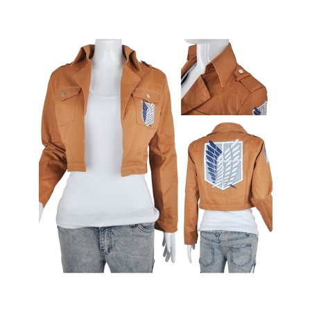 Khaki Anime Attack on Titan Jacket Coat Cosplay Costumes Clothes](Cosplay Pocahontas Costume)