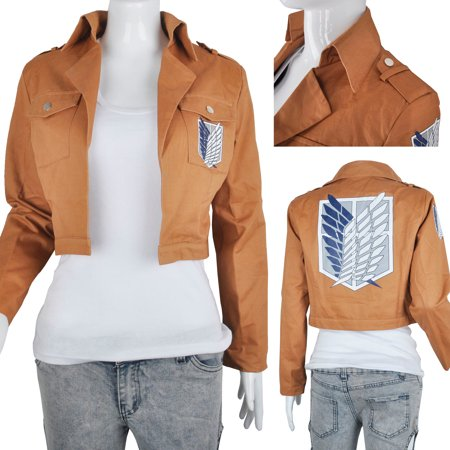 Khaki Anime Attack on Titan Jacket Coat Cosplay Costumes Clothes (Anime Cosplay Costumes Plus Size)