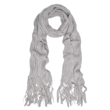 Soft Knit Diamond Pattern Solid Color Warm Fringe Scarf Free Pattern Knit Shawl