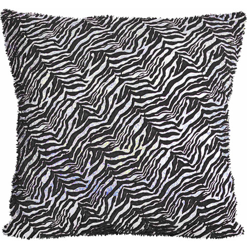 "your zone zebra foil 16"" x 16"" decorative pillow"