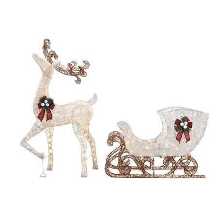 Home Accents Holiday 5 ft LED Reindeer with Sleigh, 280 Warm White Lights ()