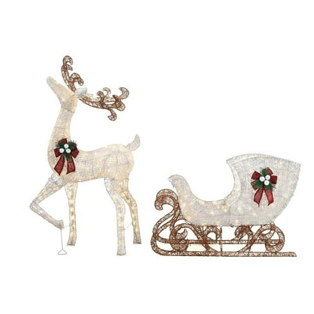 Home Accents Holiday 5 ft LED Reindeer with Sleigh, 280 Warm White Lights (Led Reindeer)