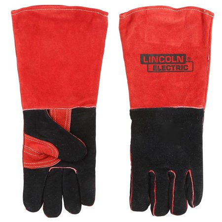 WELDING GLOVES - RED BLACK LEATHER INDUS