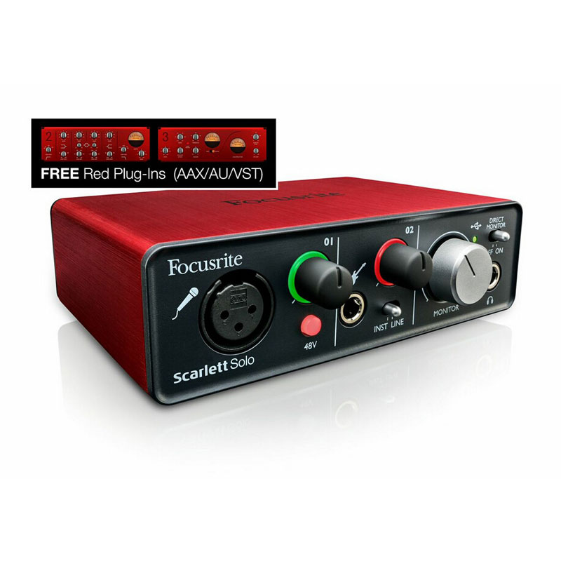 Focusrite Scarlett Solo USB Audio Interface with Red Plug-ins