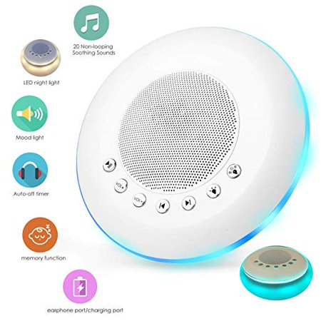 Light Therapy Sound Machine (White Noise Sound Machine for Sleeping, 20 Non-Looping Soothing Sounds Lullaby Colorful Night Light Timing Baby Therapy Sound Machine, Auto-Off Timer Battery or USB Output Charger)