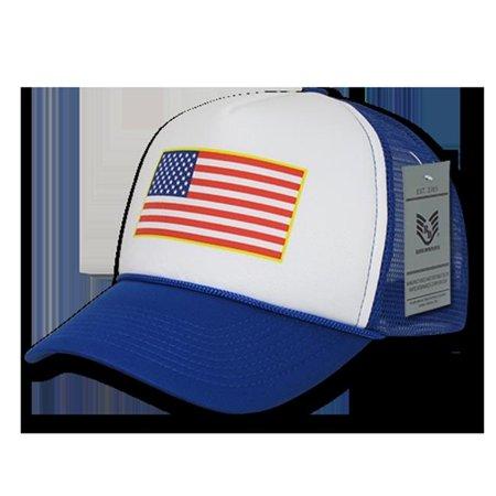 Image of rapdom usa flag graphic foam trucker mens cap [royal blue - adjustable]