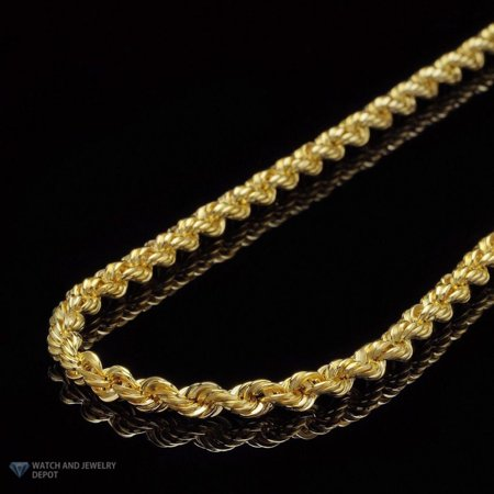 14K Yellow Gold 3.5mm Rope Link Chain Necklace 16
