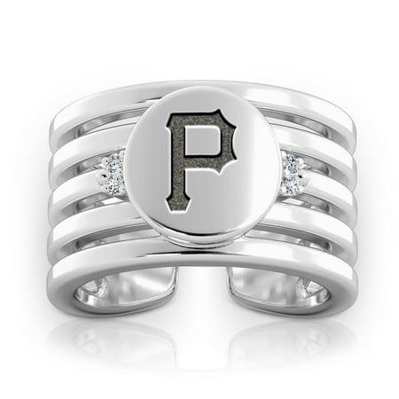 Pittsburgh Pirates Bixler's Women's Logo Engraved Multiband Cuff Ring - Pittsburgh Steelers Rings