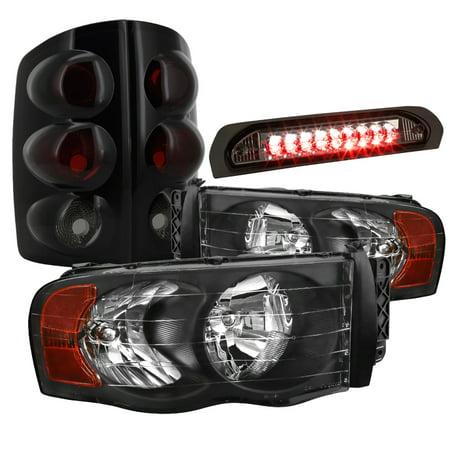 Crystal Clear 3rd Brake Light (Spec-D Tuning 2002-2005 Dodge Ram Crystal Headlights + Glossy Black Tail Lights + Clear Led 3Rd Brake Lamp 02 03 04 05 )